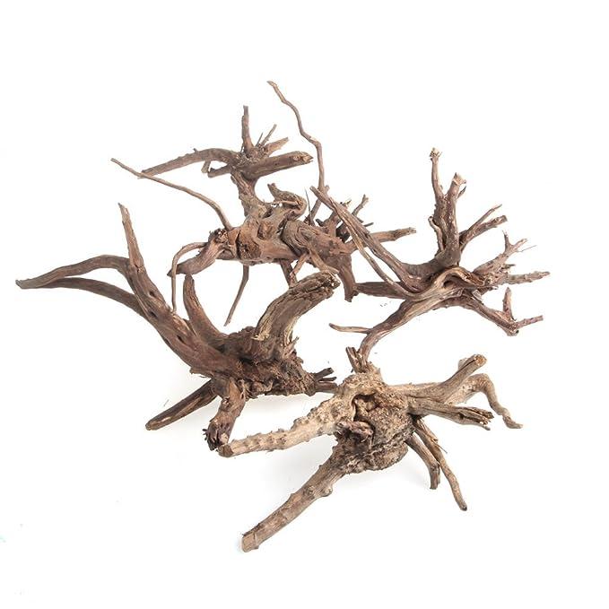 Tronco de árbol de madera natural ECMQS, decoración de acuario