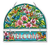 Stained Glass Suncatcher 12'' X 11'' Hummingbird Orchard Flower Welcome