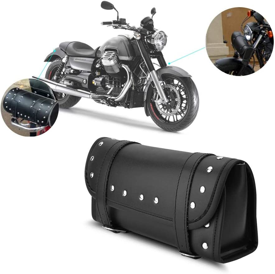 Motorrad Tasche Lenkertasche Motorrad Lenker Wasserdichtes Motorradgepäck Pu Leder Satteltaschen Für Motorräder Roll Werkzeugtasche Mit 2 Riemen Schwarz Auto