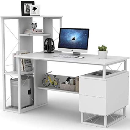 Tribesigns Computer Desk for Small Spaces, 57 Inches Functional Writing  Desk with Corner Tower Shelves and Two Drawers Works as Home Office Compact  ...