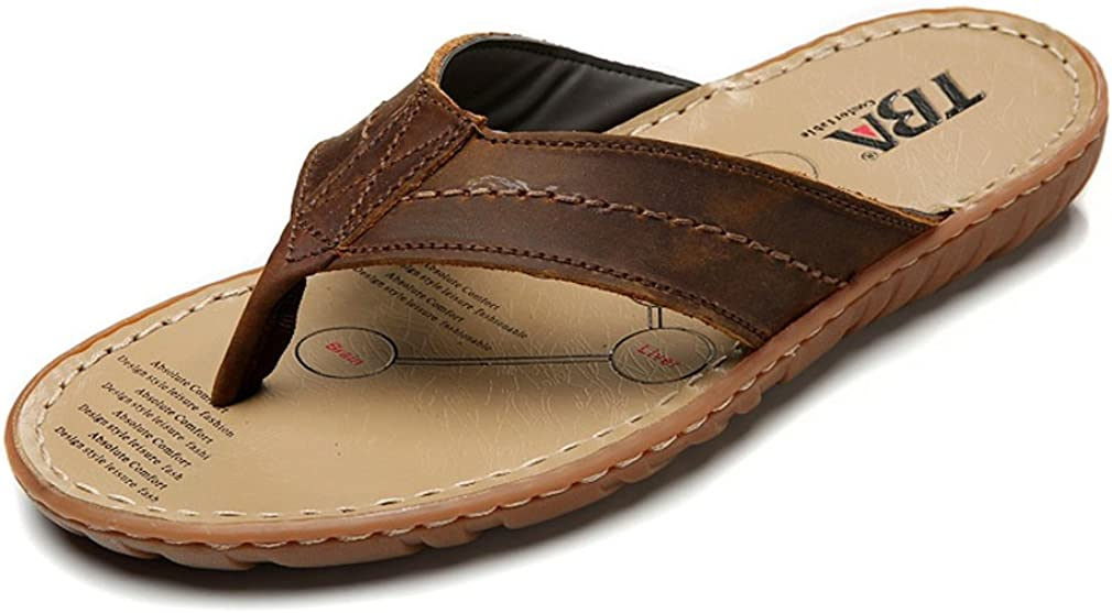 UB-TBA Mens Flip-Flop Thong Sandals with Arch Support Beach Slippers