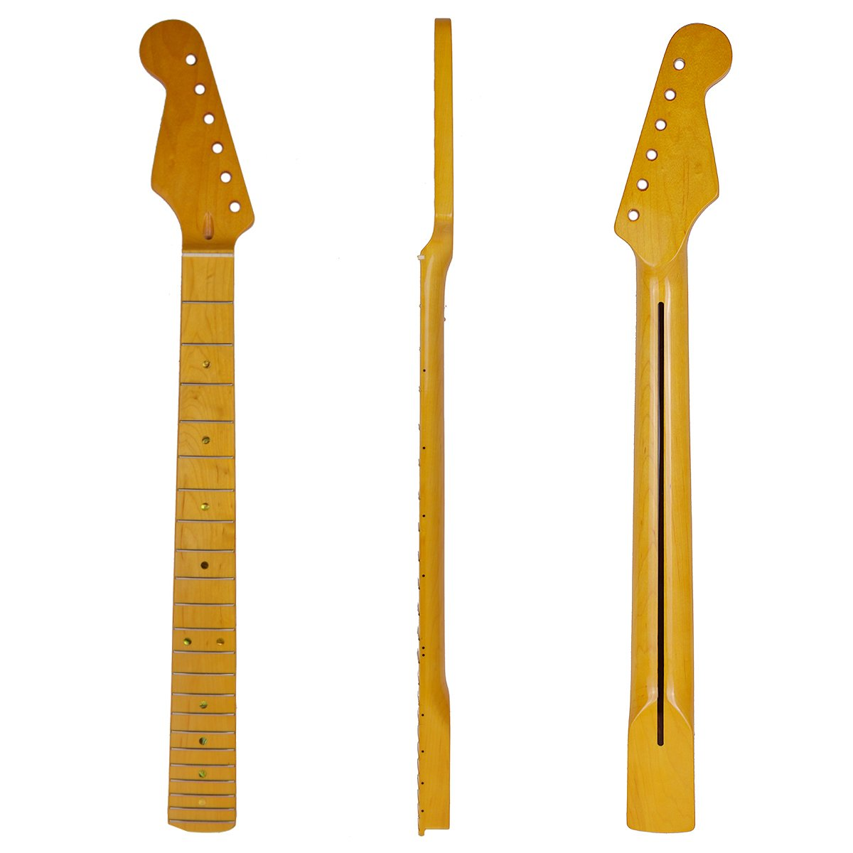Kmise Lefty Left Handed Electric Guitar Neck for Strat Parts Replacement Maple 22 Fret Yellow Painted