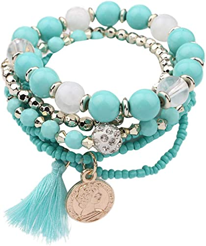 Antiqued Silver Link Chain Ethnic Design Necklace Light Blue Stones /& Tassels