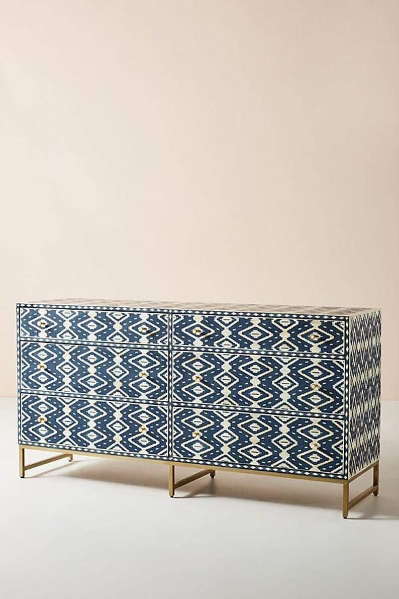 Handmade Ikkat Bone Inlay Chest of 6 Drawers in Dark Blue