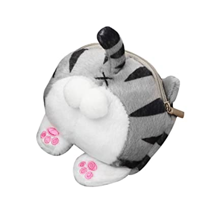 Cute Cat Butt Tail Plush Purse Mini Bag,Outsta Coin Purse Bag Wallet Pouch Zipper Fanny Classic (Multicolor)