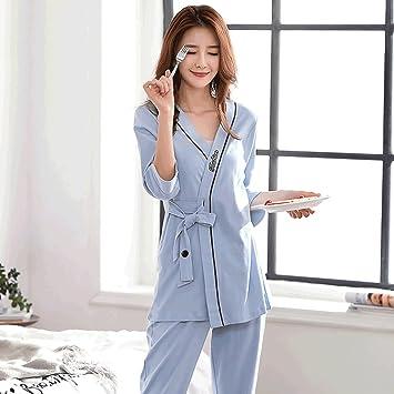 Albornoces Pijamas de primavera y otoño de señora pijama de manga larga de pijamas de largo