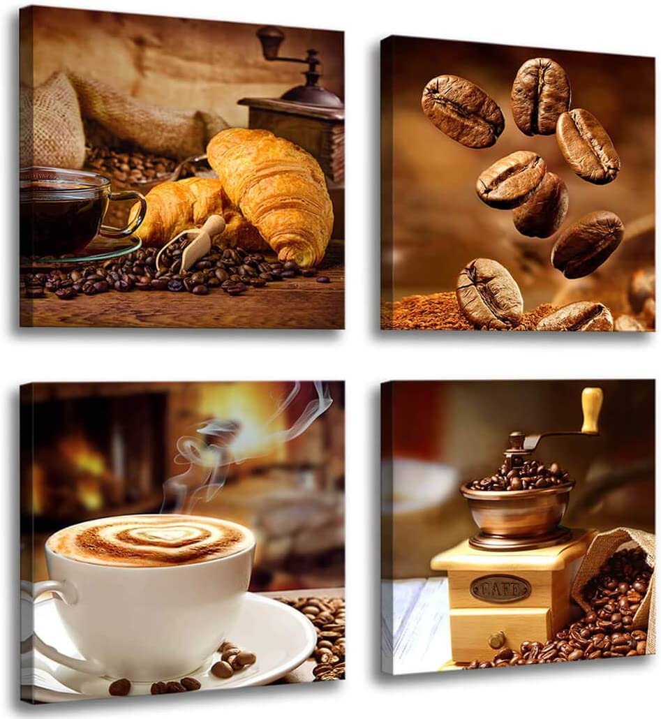 Amazon Com Kitchen Canvas Art Coffee Bean Coffee Cup Canvas Prints Coffee Wall Decor 4 Panels Framed Ready To Hang Coffee Image Table Dining Room Canvas Wall Art Contemporary Pictures For Dining Home Decoration Posters