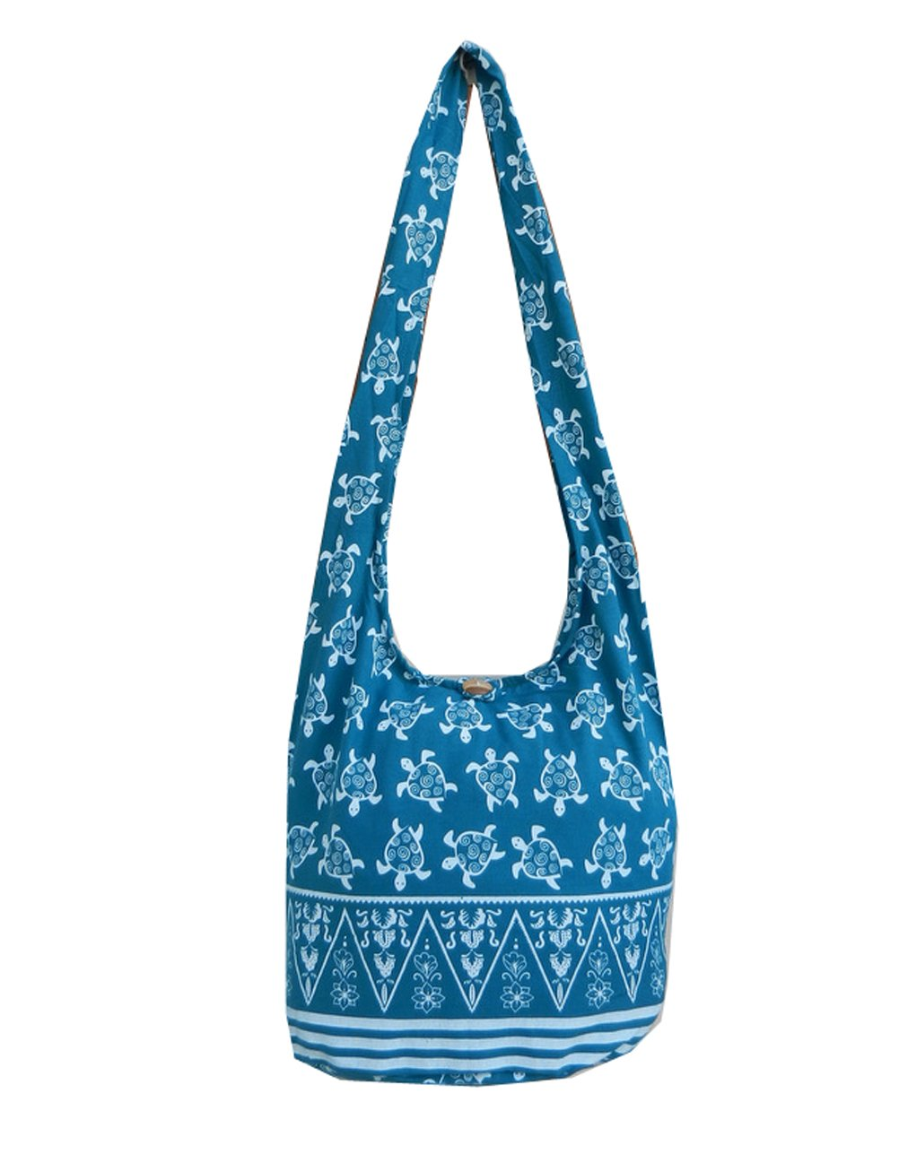 BTP! Turtle Sling Crossbody Shoulder Bag Purse Hippie Hobo Thai Cotton Gypsy Bohemian Large (Teal OW8)
