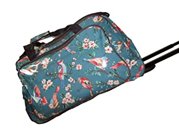 Cabin size Oilcloth Holdall Weekend Wheeled Trolley Bag Blue ...