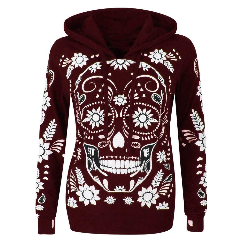 Staron Women's Hoodies Tops Skull Flower Baggy Sweatshirt Pullover Blouse Staron ®