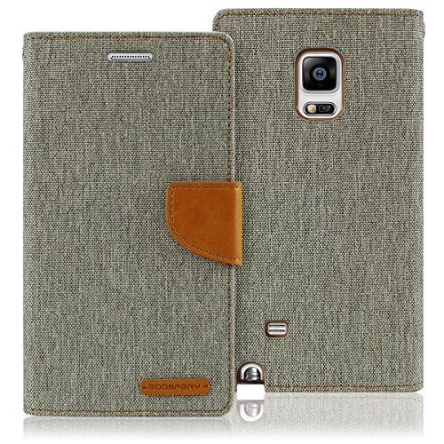 Goospery Canvas Wallet for Samsung Galaxy Note 4 Case (2014) Denim Stand Flip Cover (Gray) NT4-CAN-GRY (Samsung Galaxy Note 4 Wallet Case)