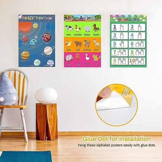 giorni scuola materna ABC poster con punto di colla 12 pezzi include numeri forme 40,6 x 27,9 cm colori scuola materna Poster dellalfabeto Welltop animali poster educativo in scuola materna