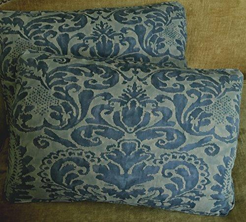 Mariano Fortuny Cotton Fabric Custom Designer Throw Pillows Corone Blue Set of 2 New