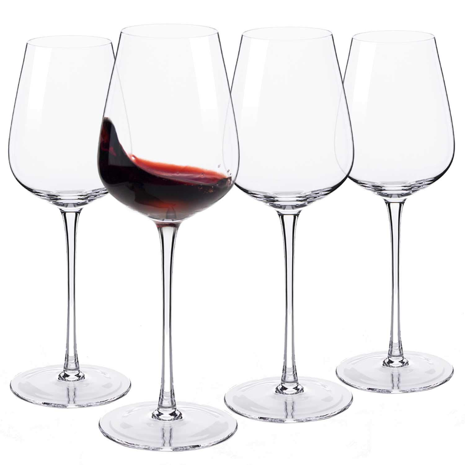 Hand Blown Italian Style Crystal Bordeaux Wine Glasses - JBHome Lead-Free Premium Crystal Clear Glass - Set of 4-18 Ounce - Safer Packaging for Any Occasion
