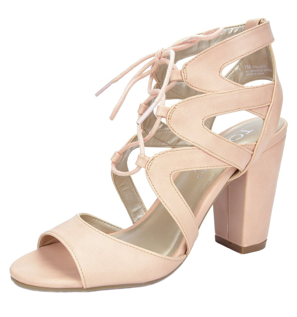 TOETOS Women's Stella-03 Pink Dust Open Toe High Chunky Heel Pump Sandals - 10 M US