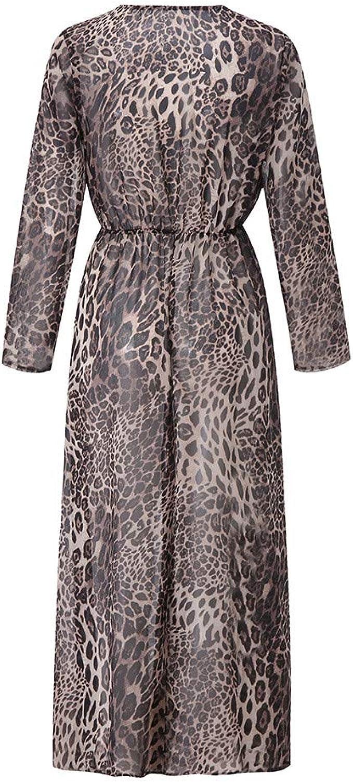 TIMEMEAN Sexy V-Ausschnitt Leopard Kleid für Damen Drucken Split