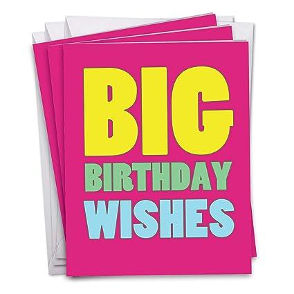 Amazon Jumbo 3 Pack Of Birthday Cards Big Wishes