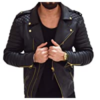 Aries Leathers Men's Real Lambskin Leather Genuine Motorcycle Jacket MJ300