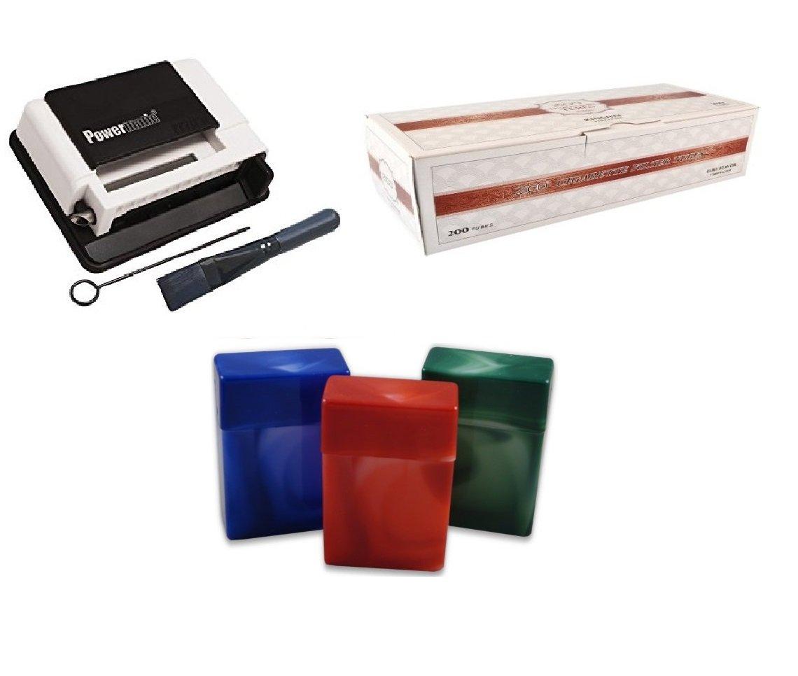 Powermatic Mini White Cigarette Injector Machine + FREE Zico Tube,3 pk Fess Cigarette Case