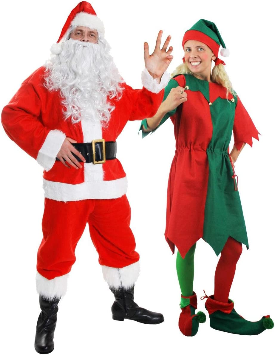 Adult Couple Santa and Elf Costumes Set