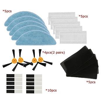 BLUELIRR 2 pares de cepillo lateral +5 Filtro HEPA +5 esponja +5 paño mojado Para CONGA EXCELLENCE Aspiradora robótica Partes: Amazon.es: Hogar