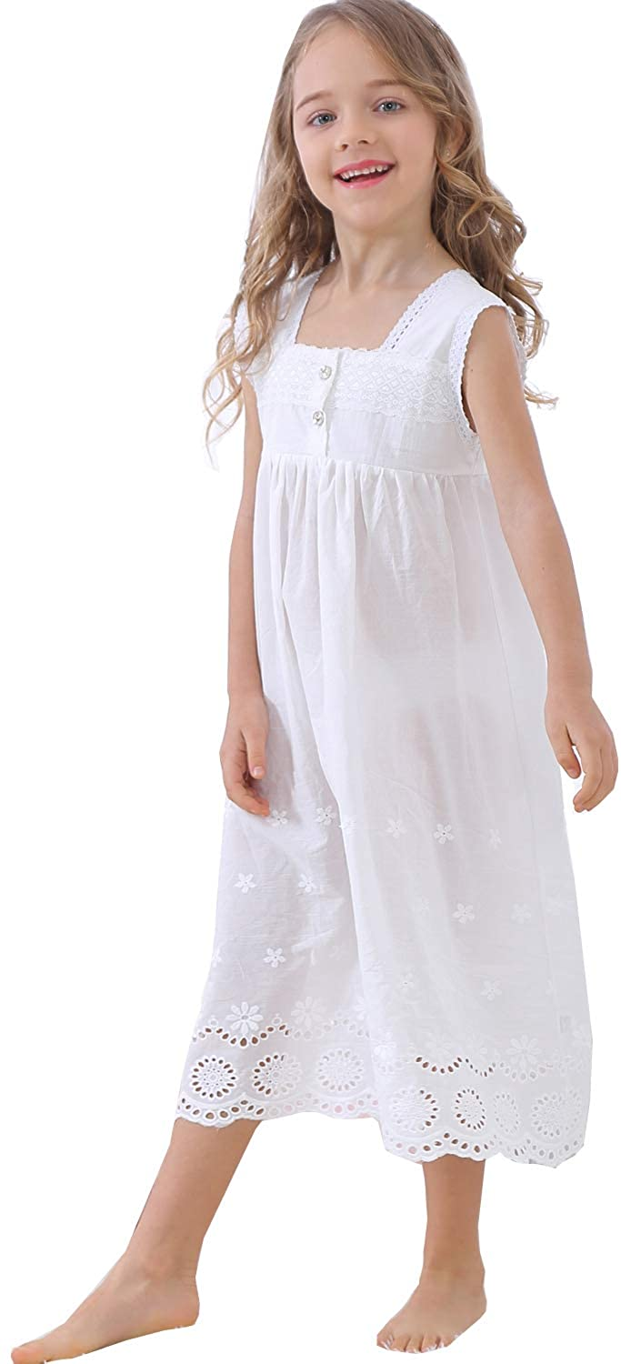 Victorian Kids Costumes & Shoes- Girls, Boys, Baby, Toddler UQ Kids Girls Embroidered Lace Cotton Princess Nightgowns Sleepwear Dress Toddler 3-12 Years $23.99 AT vintagedancer.com