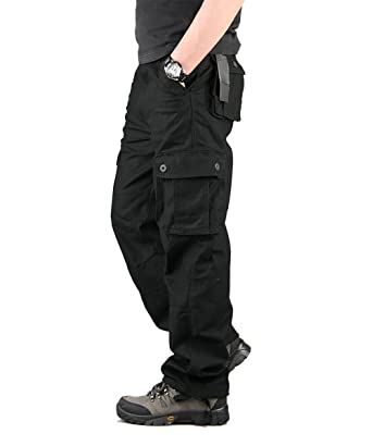 classcic guetter meilleur site TAIPOVE Pantalon de Travail Pantalon Cargo Homme Pantalon Multipoches pour  Homme Noir