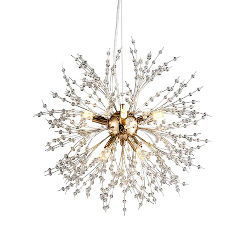 OYI Kristall Kronleuchter Nordische Moderne Pendelleuchte 9-LED Hängelampe Dekoration für Wohnzimmer Esszimmer Schlafzimmer Restaurant Büro Φ50cm Gold