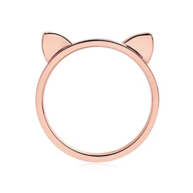 Ring In Kaars.Amazon Com Elbluvf 18k Rose Gold Plated Stainless Steel Cat Ears