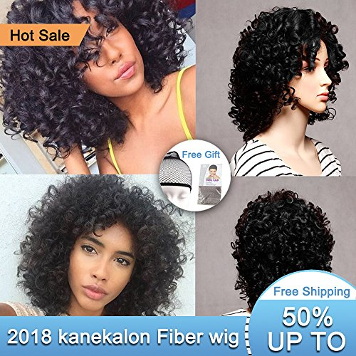 """Search : Short Curly Hair Wigs Andromeda Synthetic Afro Curly Hair Wig for African American black Women Resistance Fiber 14"""" 195g (Black)"""