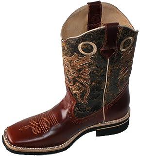 Amazon.com | Men's Genuine Cow Hide Leather Cowboy Boots Square ...