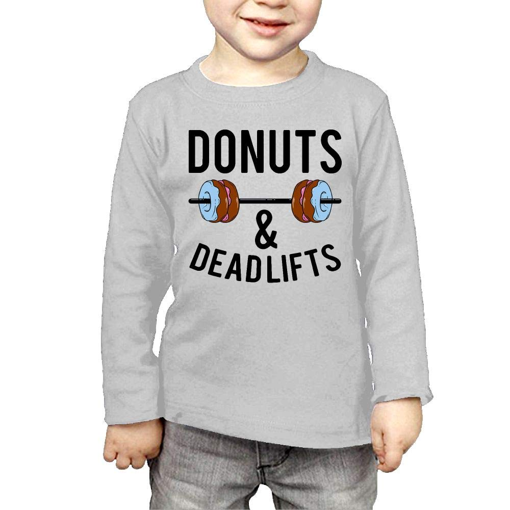 Fryhyu8 Baby Boys Childrens Donuts and Deadlifts Printed Long Sleeve 100/% Cotton Infants Tops