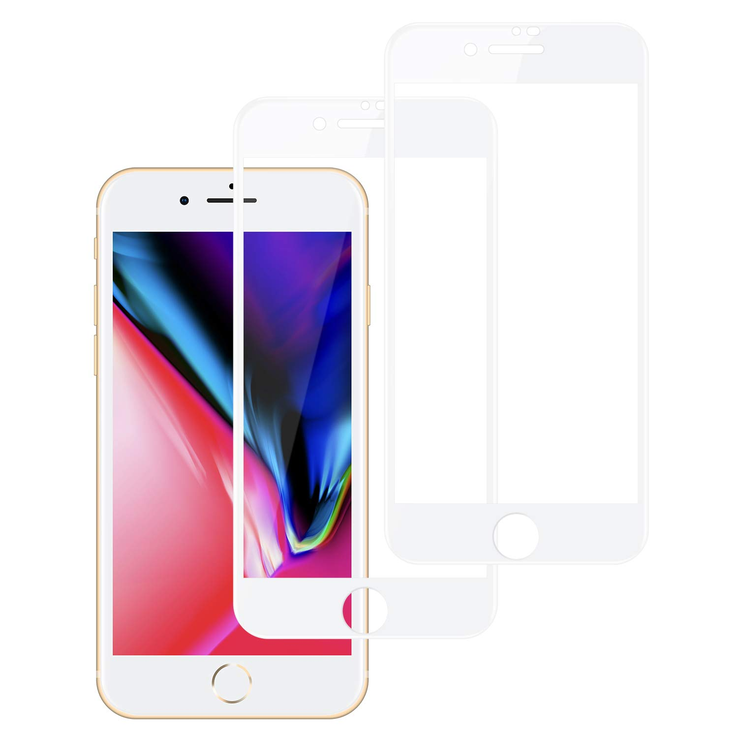 iPhone 7/8 Screen Protector Tempered Glass (2 Packs), 6D Screen Protector, High Clear, Anti Impact Scratch and Fingerprint, Case Friendly Compatible for iPhone 7/8 product image
