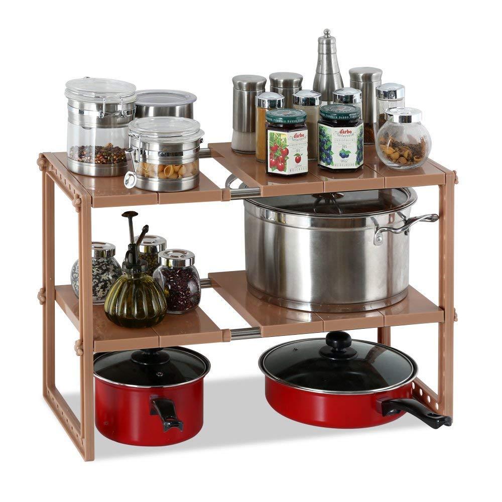 1208S Under Sink Organizers Under the Sink Shelf Kitchen Storage Organizer Rack 2-Tier Adjustable (Brown)