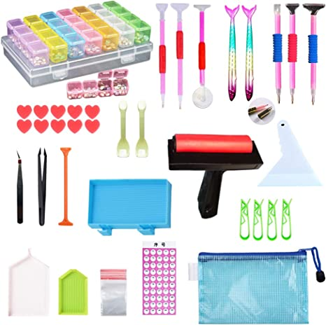Diamonds Painting Tools 22 Pcs 5D Complete Painting Accessories Kits with Diamond Painting Roller for Adults or Kids