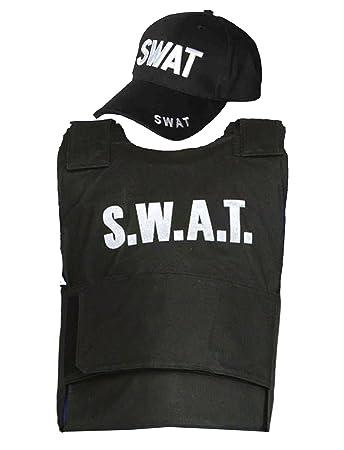 Adult SWAT Team Vest u0026 Cap Fancy Dress Costume Police FBI Tactical Military Uniform  sc 1 st  Amazon UK & Adult SWAT Team Vest u0026 Cap Fancy Dress Costume Police FBI Tactical ...