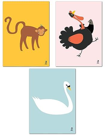 Love /& Smile/® 3er Set Poster Kinderzimmer Deko M/ädchen Jungen schwarz wei/ß DIN A4 Katzen Bilder ohne Rahmen Kinderposter