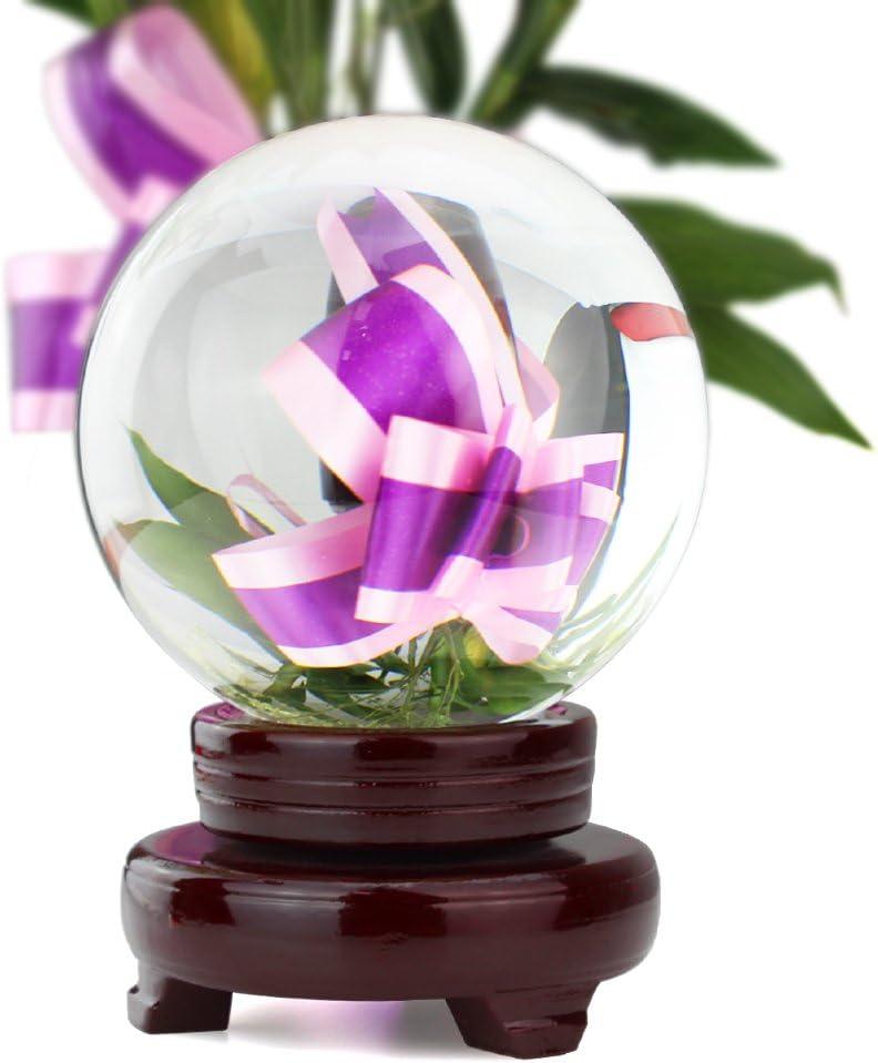 HBF 100 mm Bola De Cristal Transparente con Soporte De Madera Bola De Vidrio Transparente para Fotograf/ía Boda Fiesta Adornos para Casa