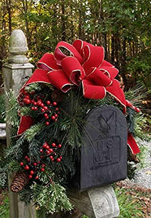 amazoncom outdoor holiday mailbox swag with bow cr1022 decorations pine home kitchen