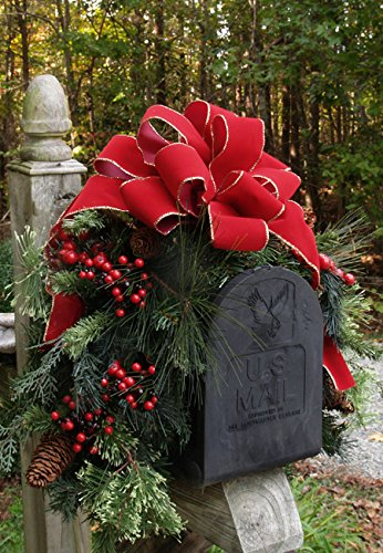 Mailbox Christmas Decorations.Outdoor Holiday Mailbox Swag With Bow Cr1022 Decorations Pine