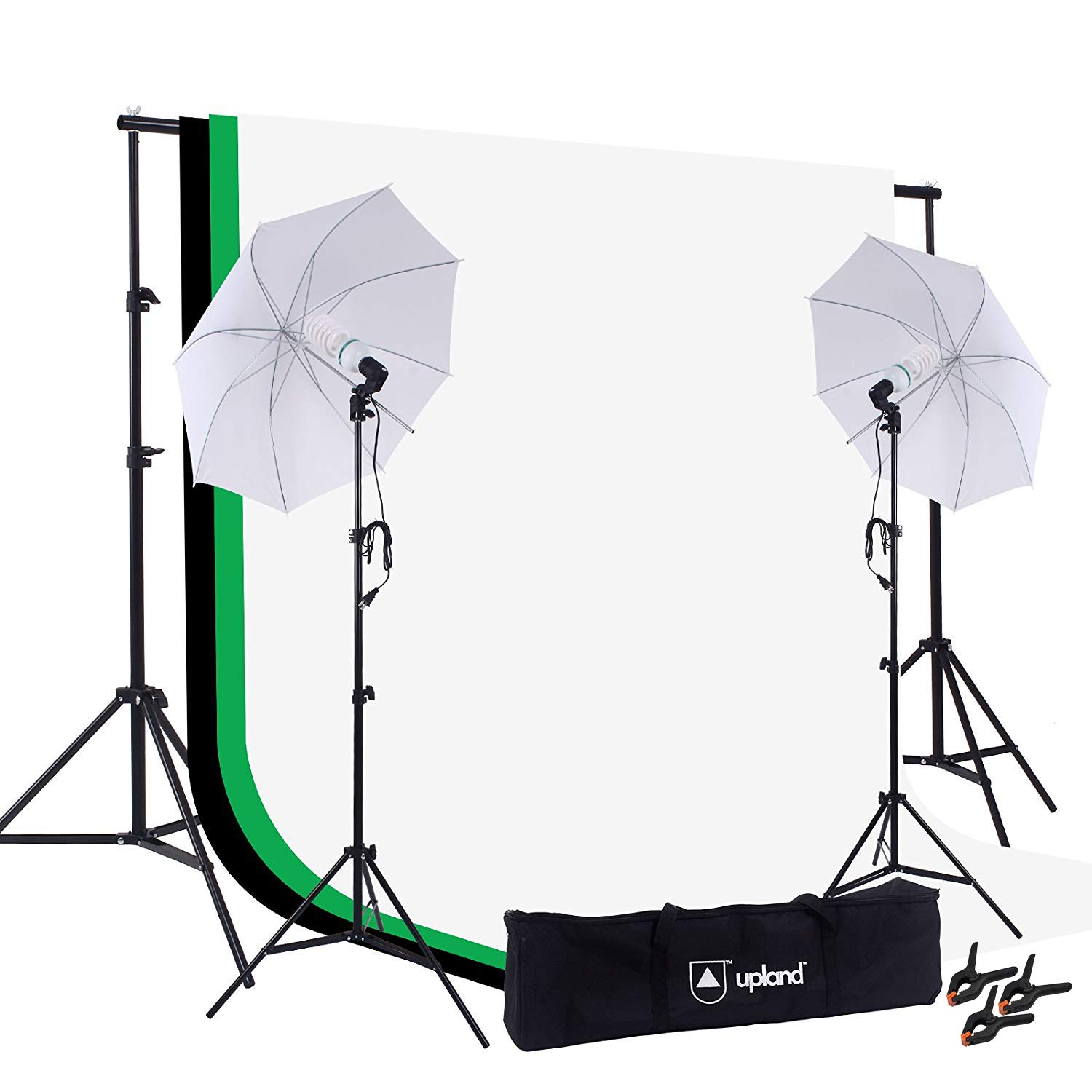 Upland Umbrella Continuous Lighting Kit for Photo, Photography and Video Studio, 2 Daylight Umbrellas (33'') + Backdrop Support Stand (6.6x6.6FT) + 3 Backdrops (5.4x10FT) by Upland