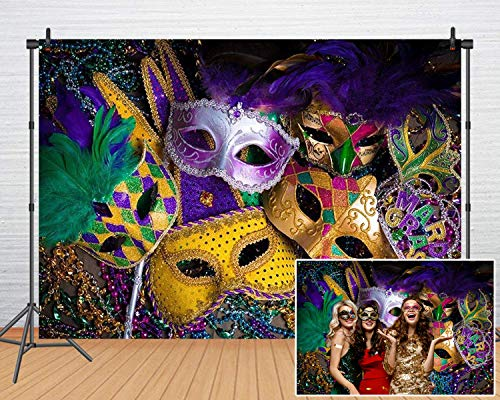 Mardi Gras Mask Colorful Photography Backdrop Mystery Carnival Masquerade Backgrounds Birthday Dancing Party Banner Photo Booth for Wedding Bachelorette Party Decorations Banner 61(7x5) - Mardi Gras Pictures