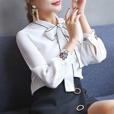 KCMCY Blusas Blusas Y Blusas para Mujer Blusa Blanca Ropa De Trabajo Ropa De Mujer Blusa De Gasa Camisa De Manga Larga Camisas De Mujer, S: Amazon.es: Hogar