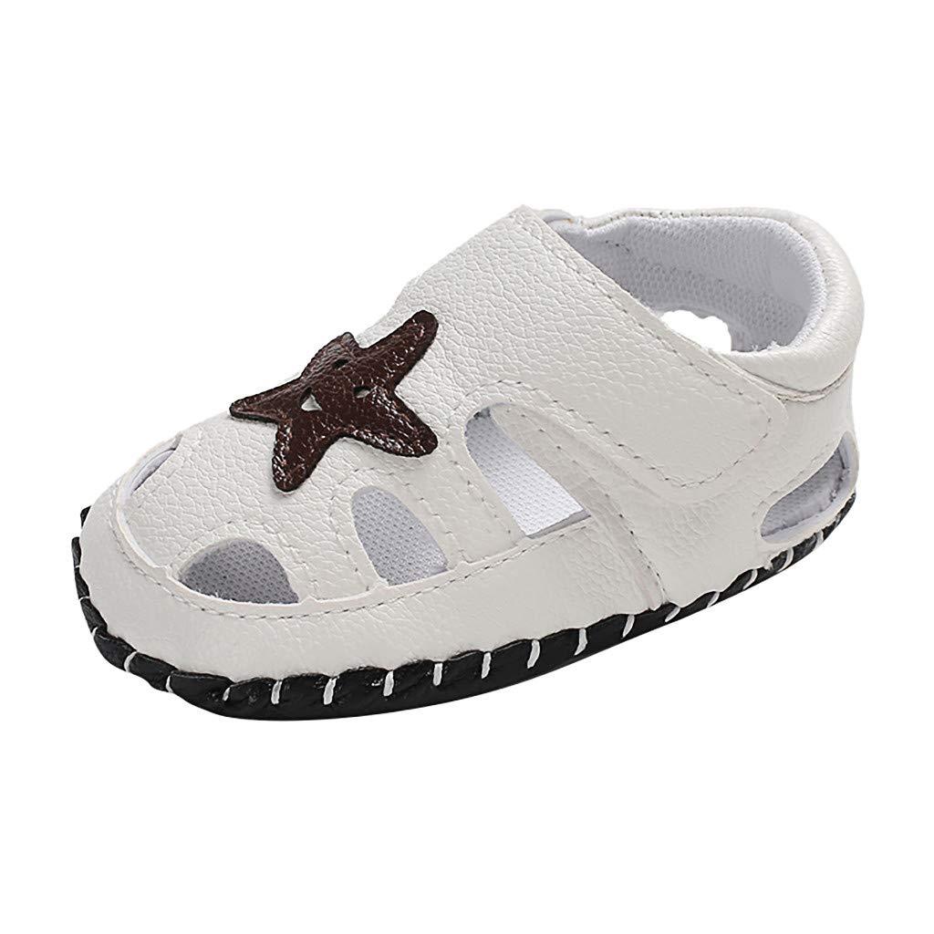 Sandals for Unisex Toddler,Jchen Newborn Baby Girls Boy Cartoon Star Soft Sole Single Shoes Sandals for 0-18 Months (Age:6-12 Months, White)
