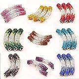 HYBEADS 10pcs 45mm Multi Colour Mixed Long Tube Shamballa Tube Crystal Beads Pave Crystal Rhinestone Curved Bar