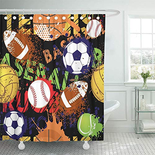 Emvency Shower Curtain Waterproof Polyester Fabric 72 x 72 inches Boy Sport Pattern with Balls Repeated for Child Creative Grunge Design Black Game Set with Hooks Decorative Bathroom