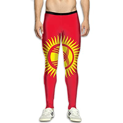 Flag Of Kyrgyzstan Attractive Men's Athletic Running Pants Sports Compression Tight Leggings