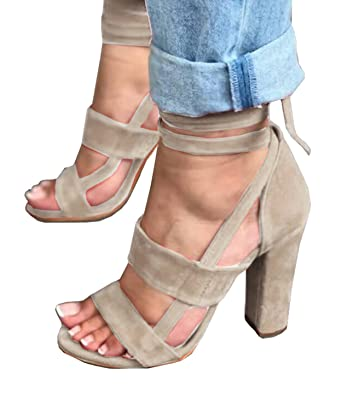 Women's Strappy Heel Pxmoda Ankle Heels Pump Block Sandal Strap Sandals Lace High Up tsdQCrh