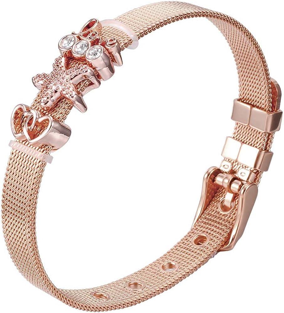 Heideman brazalete de señora malla de acero inoxidable de plata o de oro rosa pulido pulsera con encanto para las mujeres con Zirconia piedra blanca como la pulsera hb2817_P