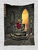 XHFITCLtd Gothic Tapestry, Ancient Altar Holy Table in the Castle Baroque Era Alchemy Wizard Design, Wall Hanging for Bedroom Living Room Dorm, 40 W X 60 L Inches, Reseda Green Mustard